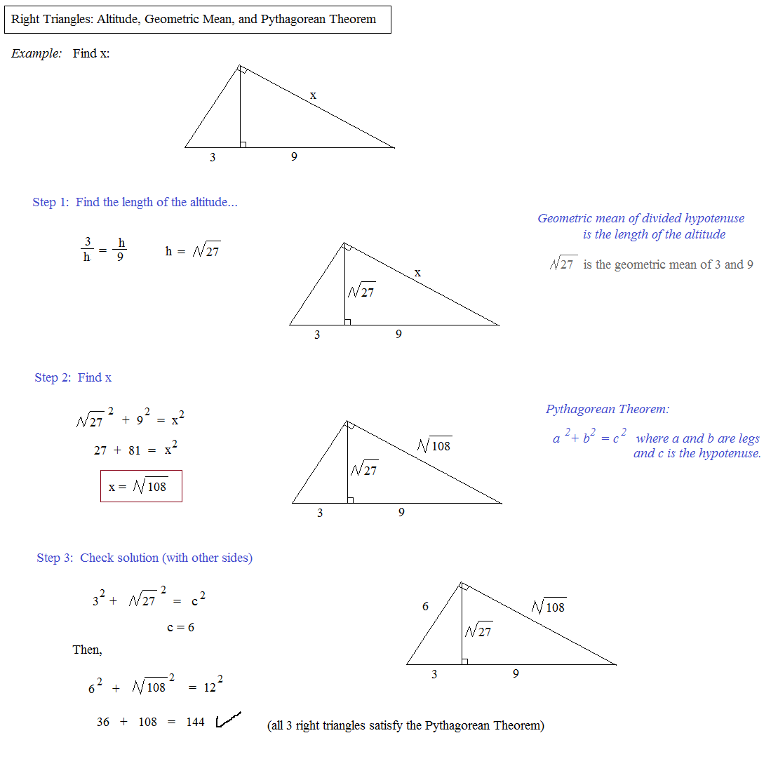 Printables Geometric Mean Worksheet math plane means extremes and right triangles geometric mean example