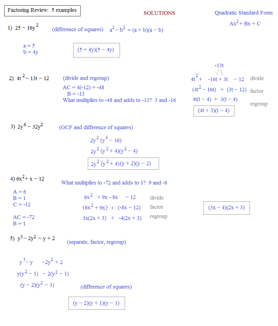Free Worksheet Factoring Review Worksheet math plane algebra review 2 factoring 5 examples solutions