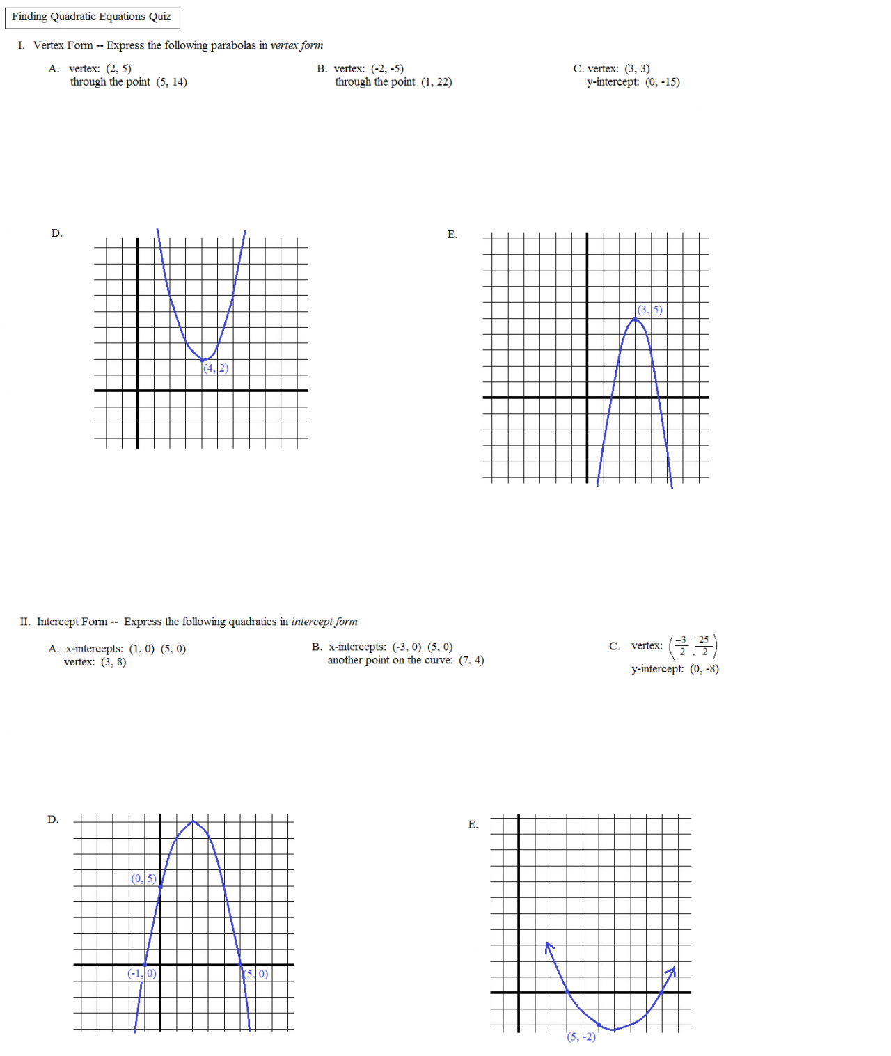 Math Plane Identifying Quadratic Equations from points – Algebra 2 Functions Worksheet