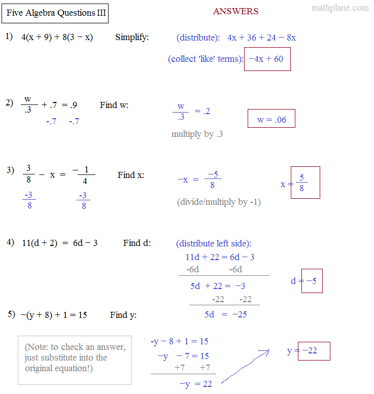 algebra questions and answers Free math problem solver answers your algebra homework questions with step- by-step explanations.
