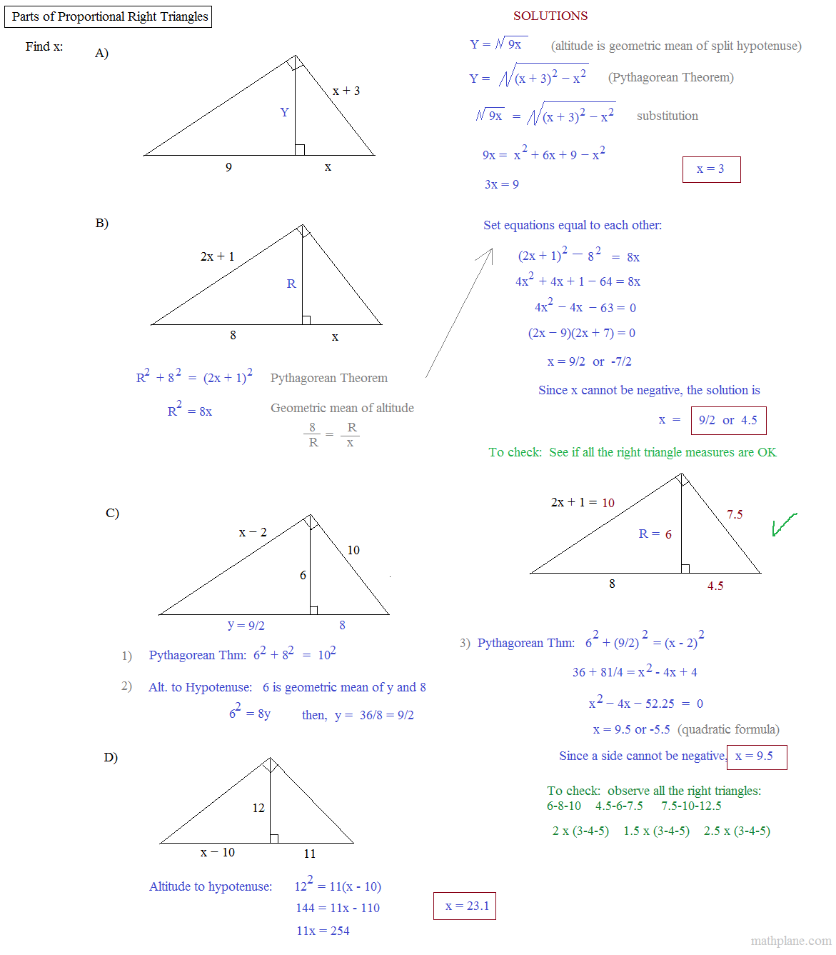 Geometric Mean Worksheet Kuta kuta worksheet on geometric mean – Similar Right Triangles Worksheet