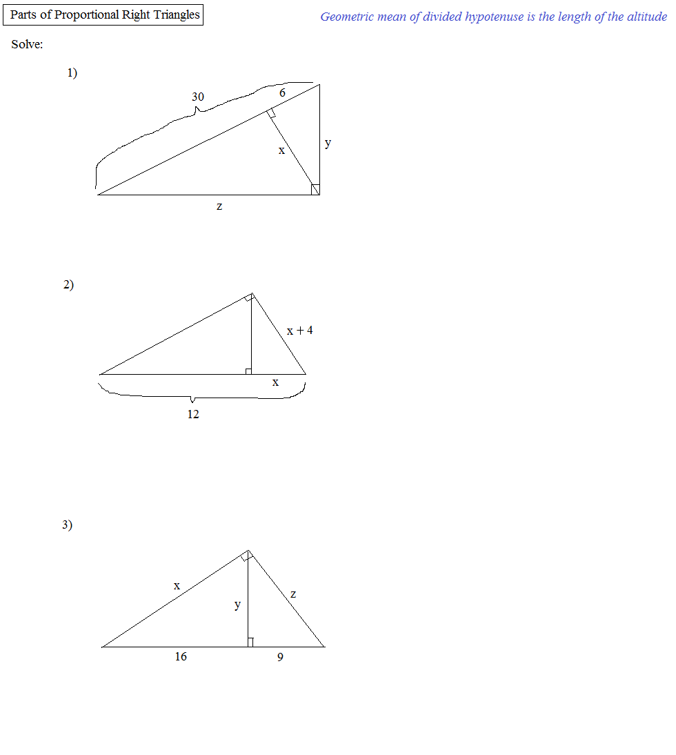 worksheet Geometric Mean Worksheet math plane means extremes and right triangles triangles
