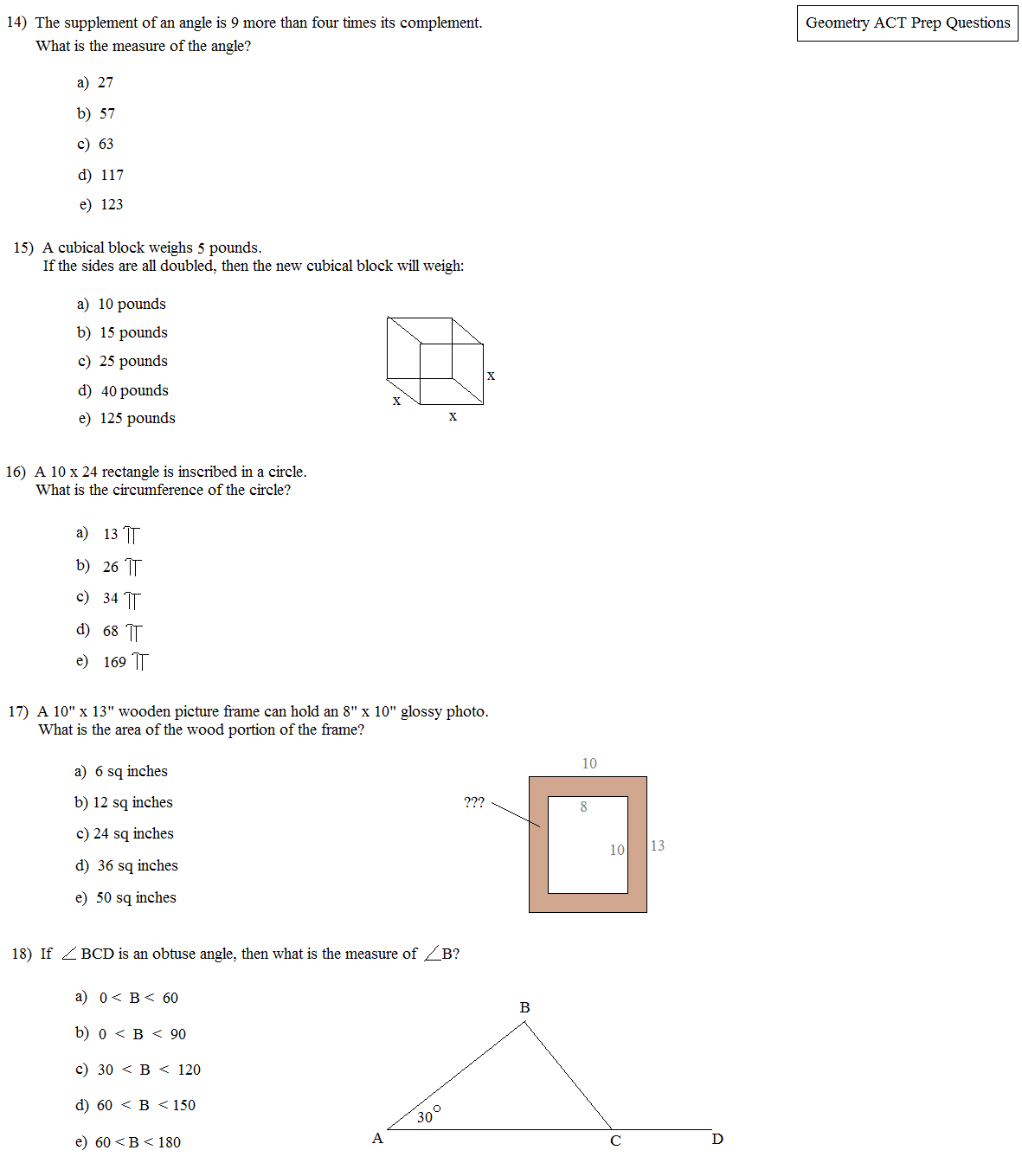 Math Plane - ACT Geometry Practice Questions