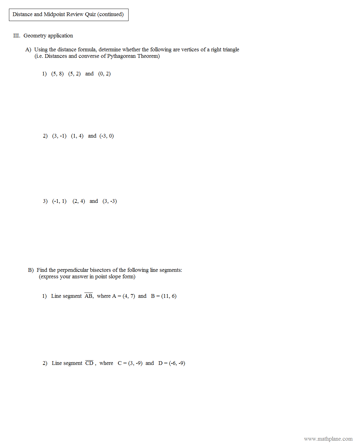 Worksheets Coordinate Geometry Distance Formula Worksheet math plane midpoint and distance geometry review quiz 2