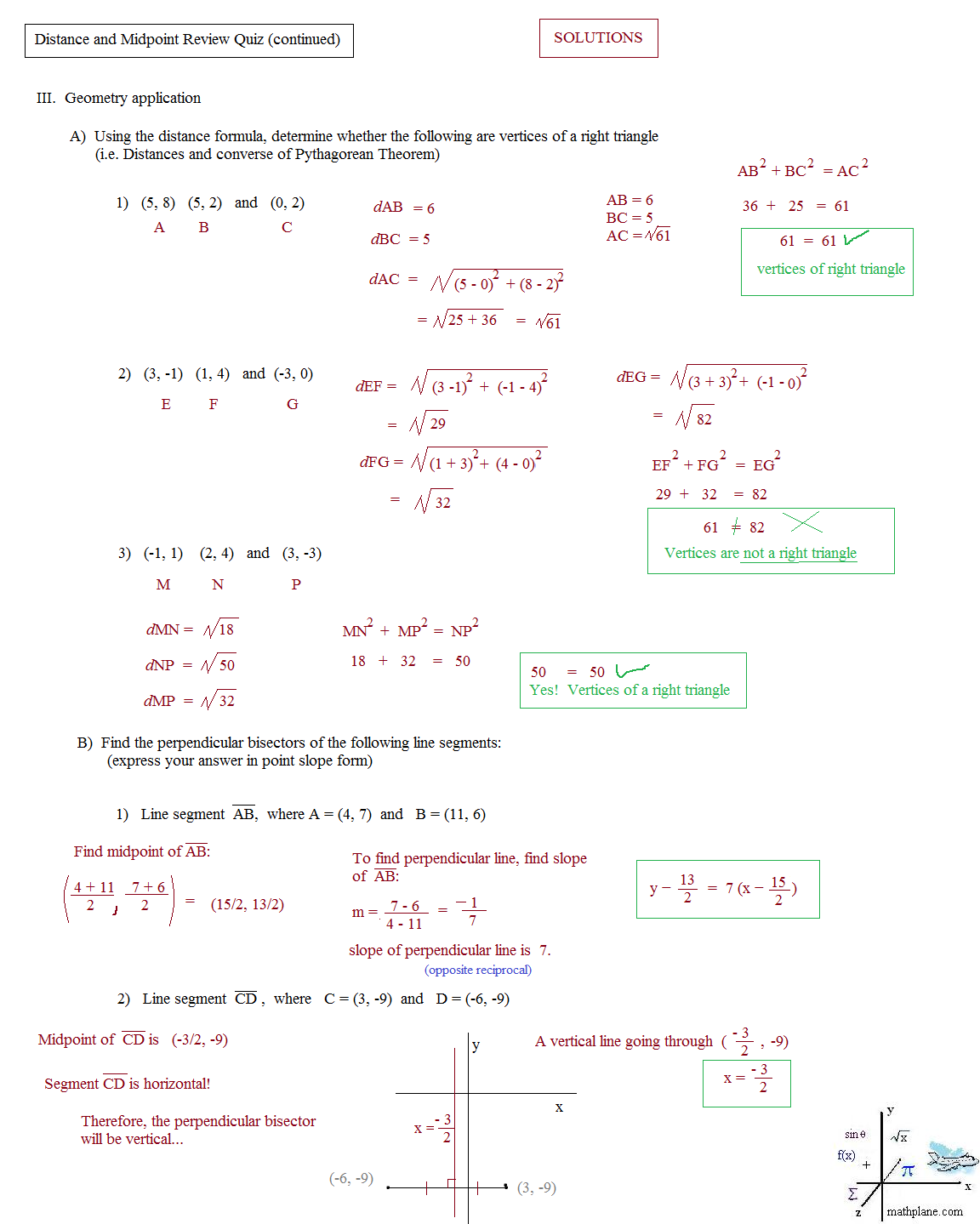Worksheets Coordinate Geometry Distance Formula Worksheet math plane midpoint and distance geometry review quiz 2 solutions