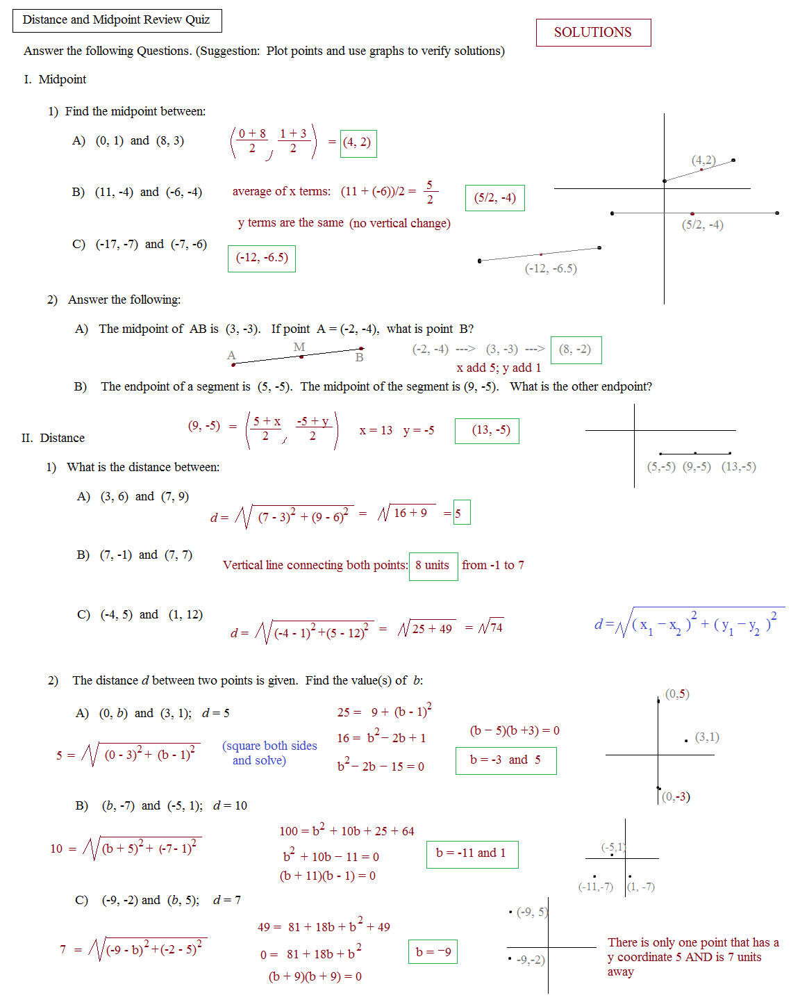 Worksheets Coordinate Geometry Distance Formula Worksheet math plane midpoint and distance geometry review quiz 1 solutions
