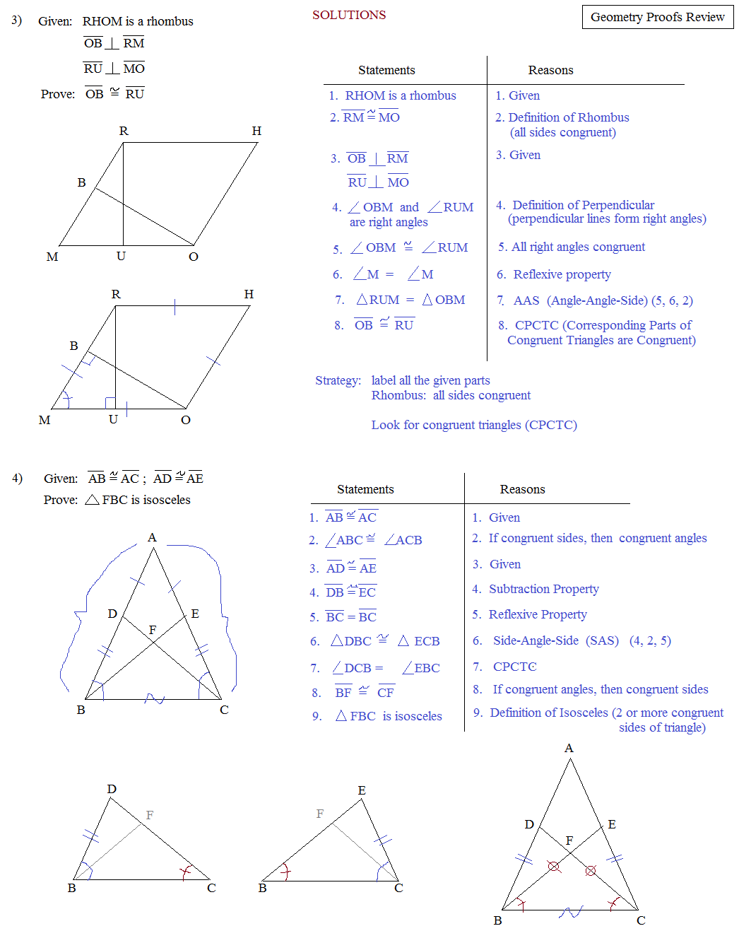 Geometry review worksheets with answers