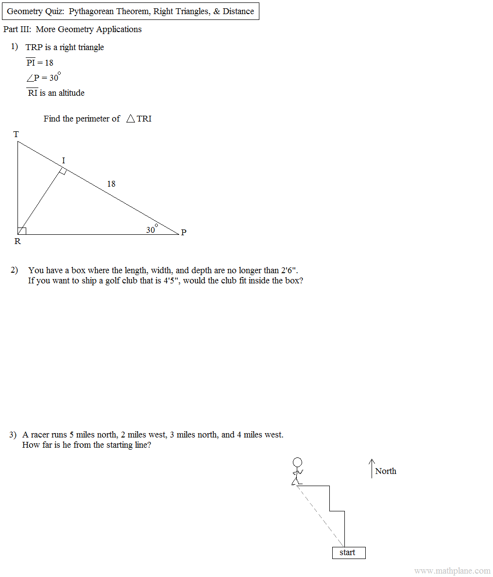 math plane pythagorean theorem distance  geometry pythagorean theorem application quiz