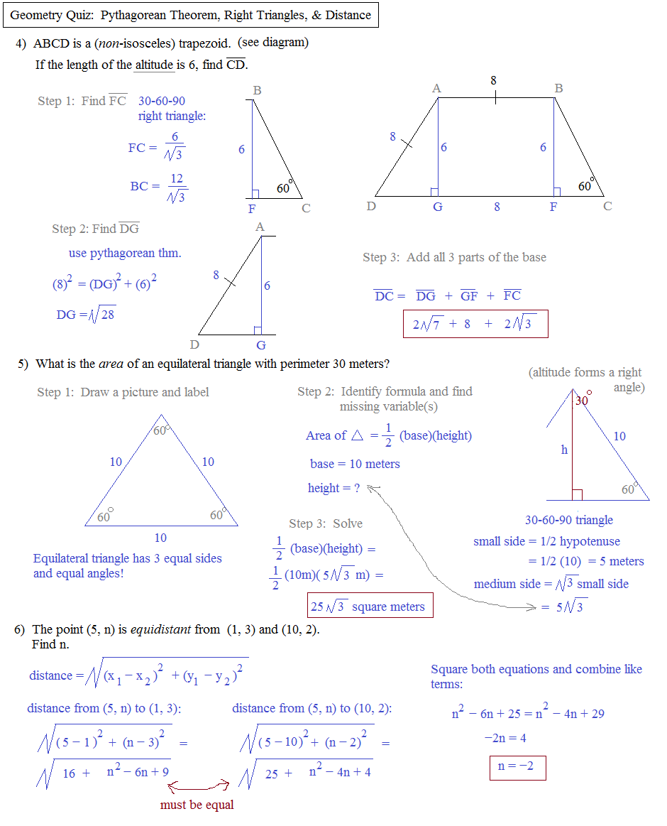Worksheets Pythagorean Theorem Applications Worksheet math plane pythagorean theorem distance geometry application quiz 2 solutions