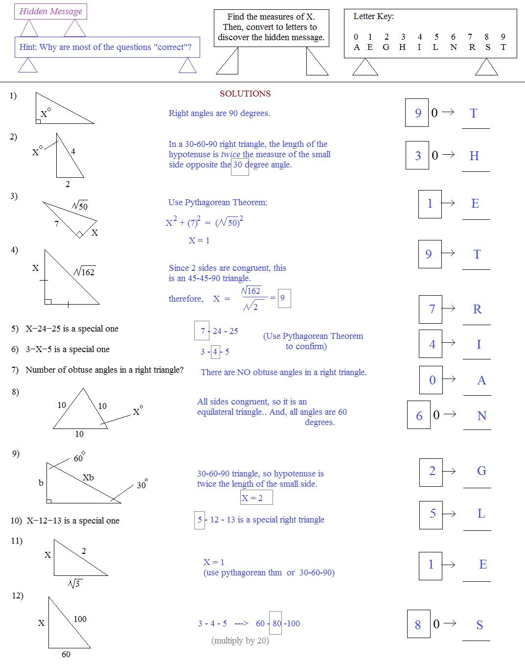 worksheet Pythagorean Theorem Puzzle Worksheet math plane right triangle review hidden message puzzle triangles solutions