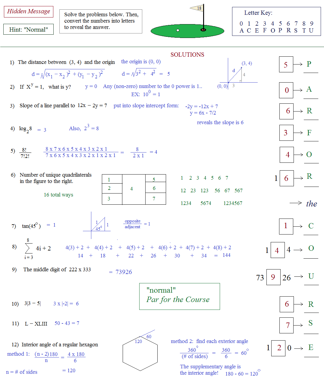 Worksheets Act Math Worksheets math plane act hidden message puzzle 2 golf solutions