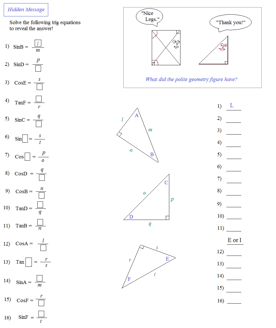 Worksheets Sine Cosine Tangent Worksheet math plane notes on sine cosine and tangent reciprocals trigonometry introduction inverse trig functions principal value mathplane trig