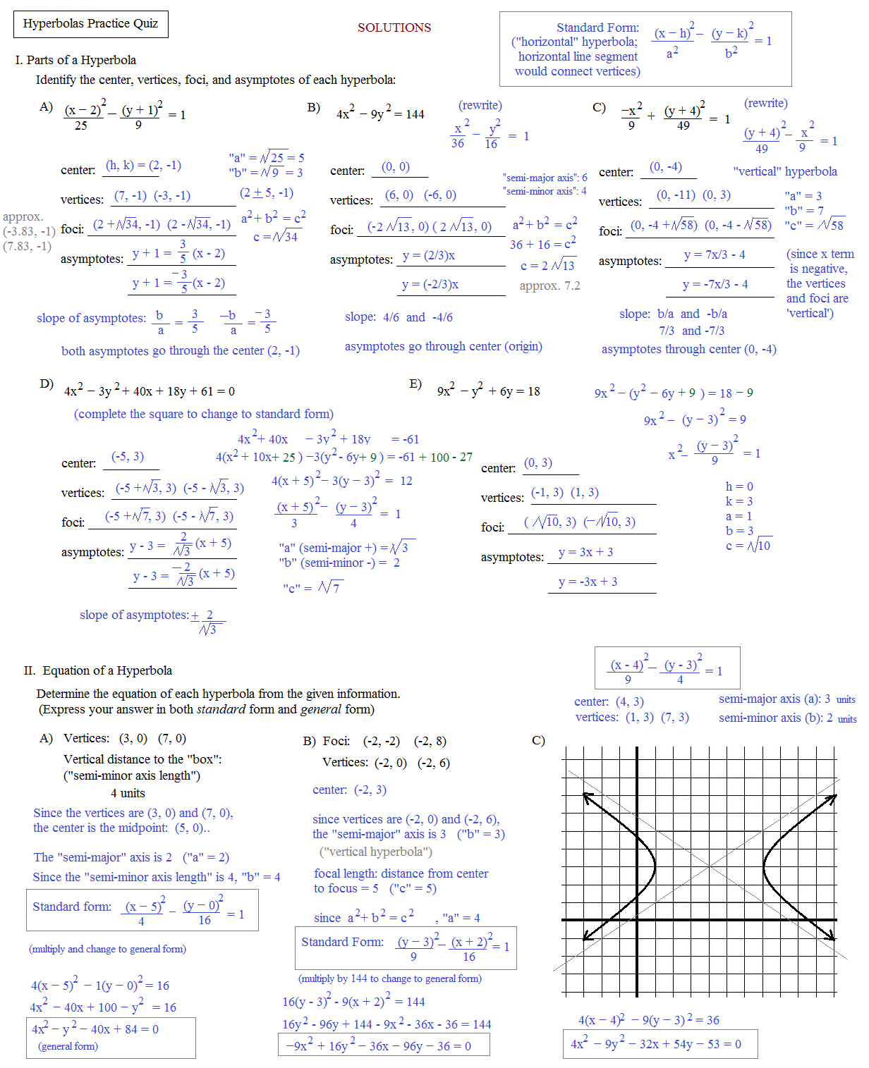 Worksheets Hyperbola Worksheet math plane conics ii hyperbolas and parabolas practice quiz solutions