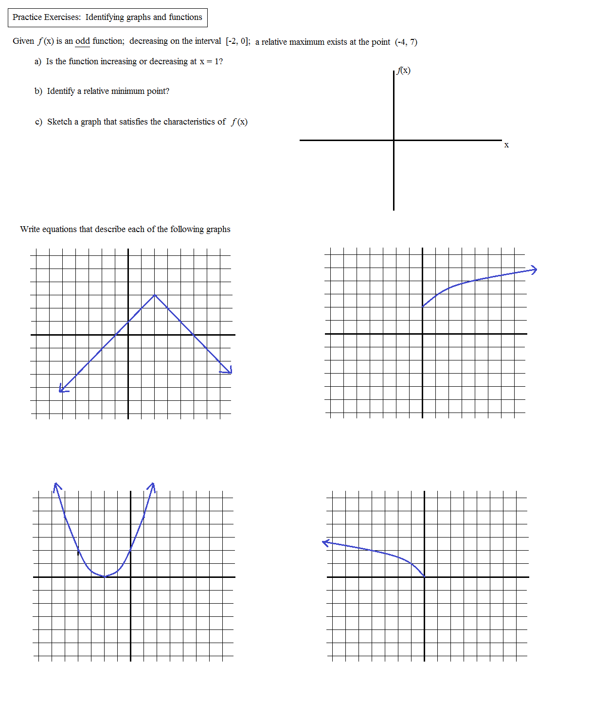 worksheet Even And Odd Functions Worksheet math plane graphing iii identifying functions even function graphs and exercises