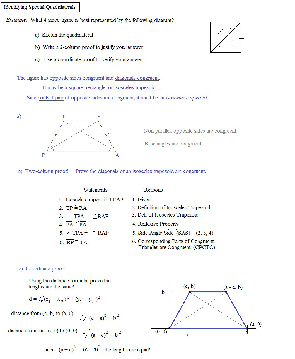 worksheet Define Reflexive Property math plane special quadrilaterals 1 introduction identifying isosceles trapezoid proofs utilizing properties