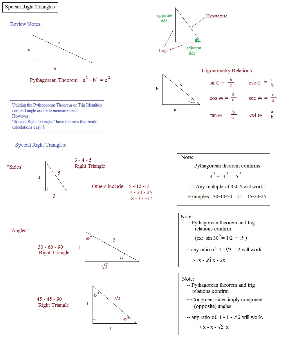 Math Plane Means Extremes and Right Triangles – Geometry Special Right Triangles Worksheet