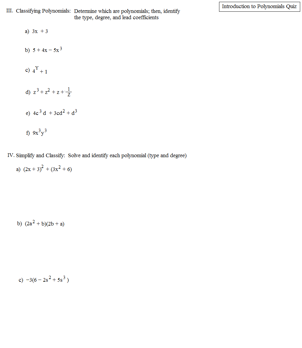 Math Plane Introduction to Polynomials – Polynomials Worksheet