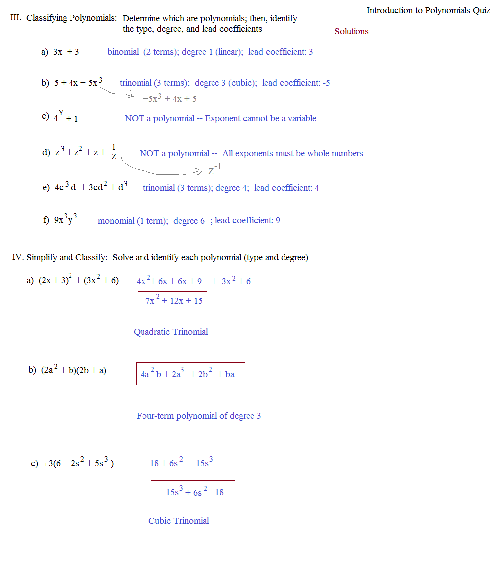 classifying polynomials worksheet Termolak – Classifying Polynomials Worksheet