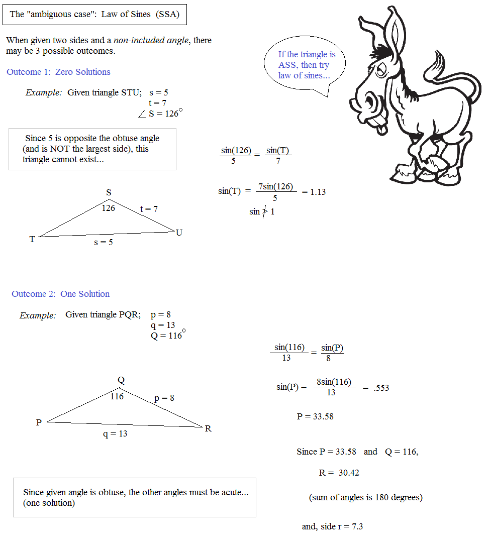Math Plane Law of Sines and Cosines Area of Triangles – Law of Sines Worksheet