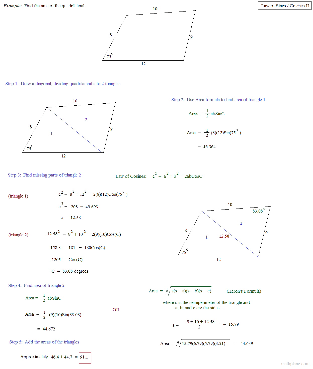 Worksheets Law Of Sines And Cosines Worksheet math plane law of sines and cosines ii quadrilateral example