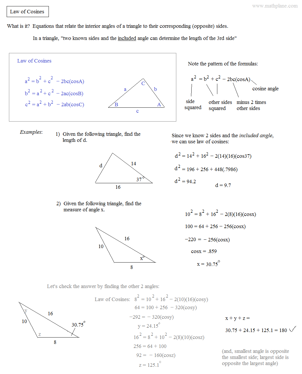 Printables Law Of Cosines Worksheet math plane law of sines and cosines area triangles notes examples
