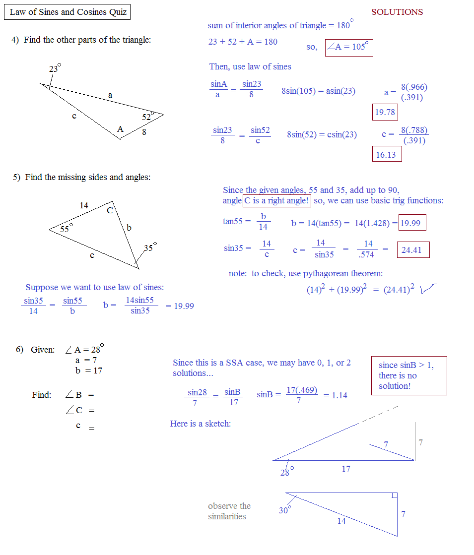 Math Plane - Law of Sines and Cosines & Area of Triangles