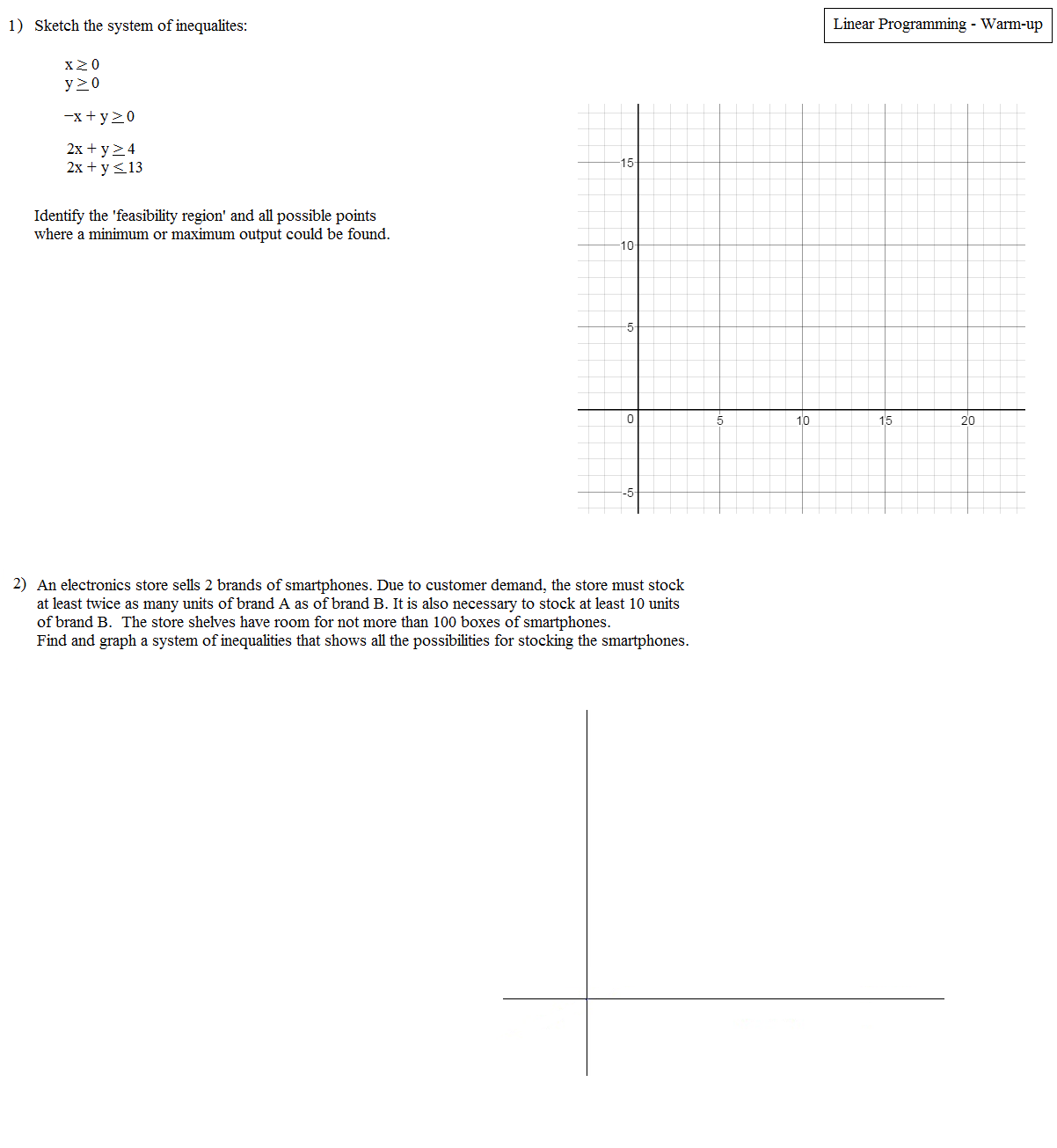 Worksheets Linear Programming Worksheet math plane linear programming optimization worksheet warm up 1