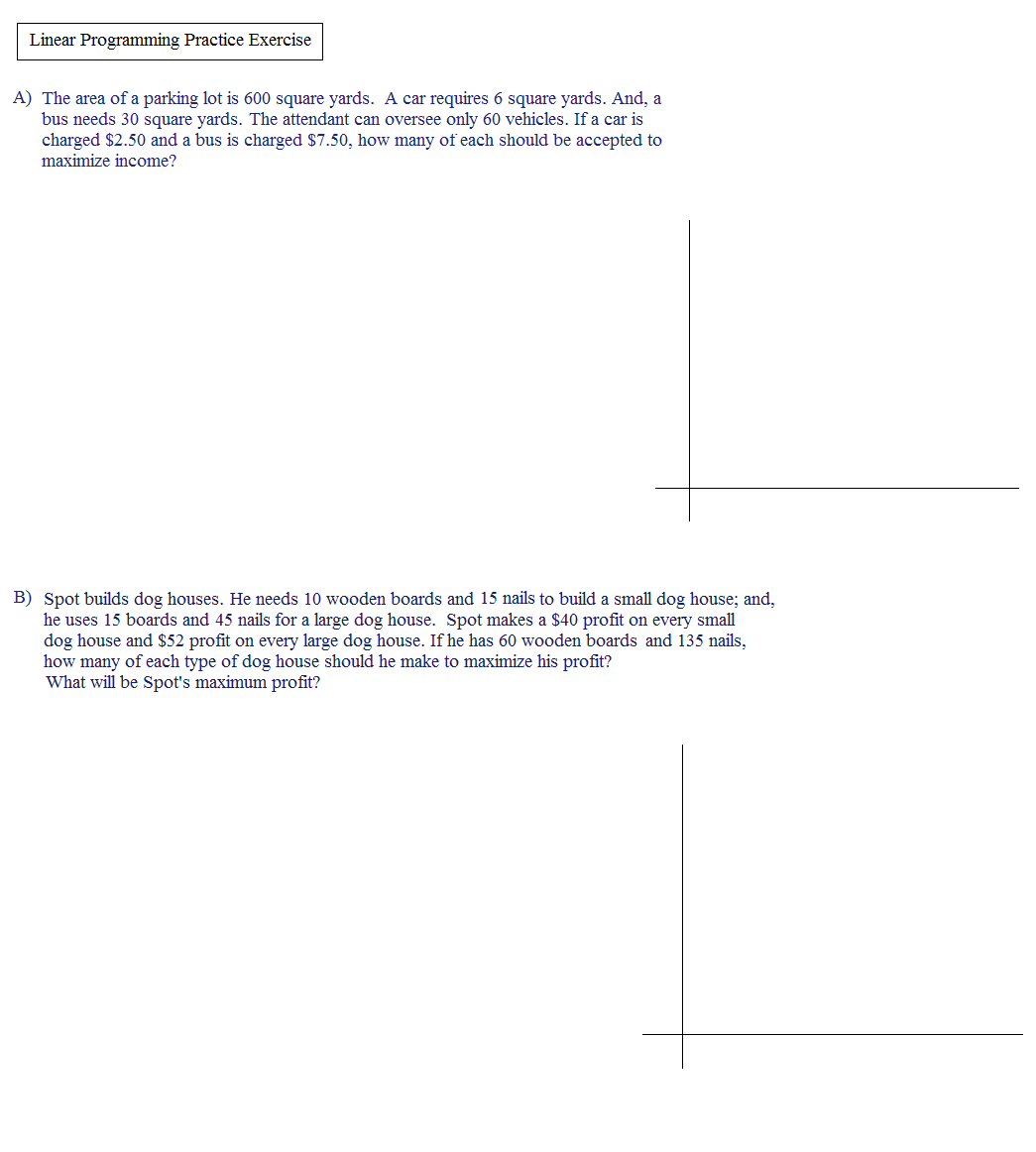 Worksheets Linear Programming Worksheet math plane linear programming optimization quiz 1