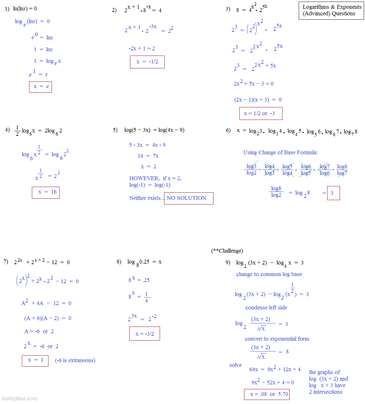 Math Plane - Logarithms and Exponents III (Advanced)