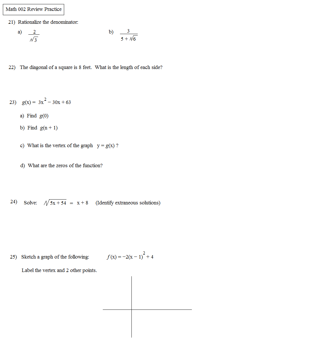 worksheet Rationalizing The Denominator Worksheet math plane algebra review 3 3