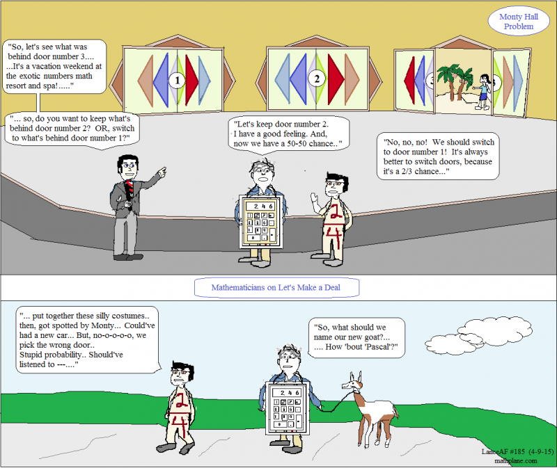math comic 185 monty hall problem - lets make a deal