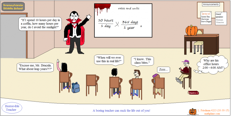 Fractions Exercises Math Comic 213 Count Dracula Horrorible Teacher