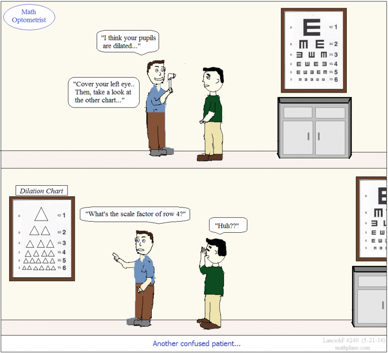 math comic 240 math optometrist - dilation pupil