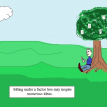 math postcard cartoon 25 sitting under the factor tree - natural numbers