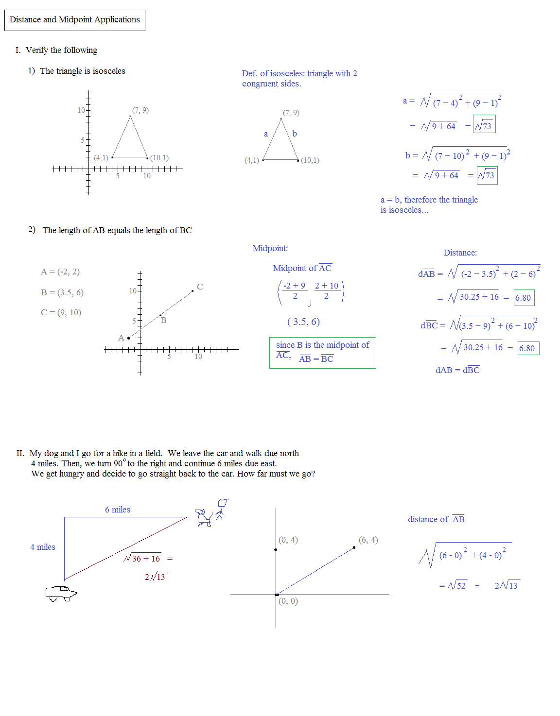 Worksheets Coordinate Geometry Distance Formula Worksheet math plane midpoint and distance formula b mathplane applications