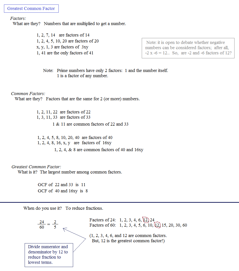 worksheet Factoring Gcf Polynomials Worksheet math plane greatest common factor gcf least multiple mathplane notes