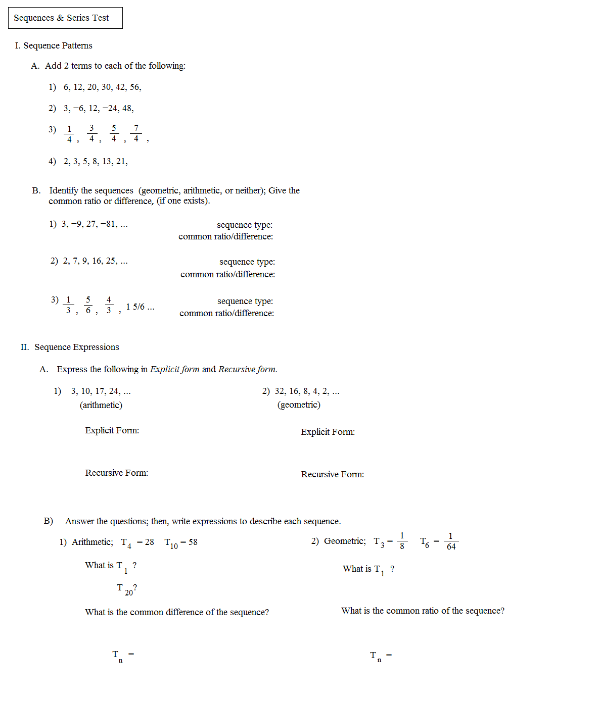 Worksheets Sequences And Series Worksheets math plane sequences and series i mathplane test