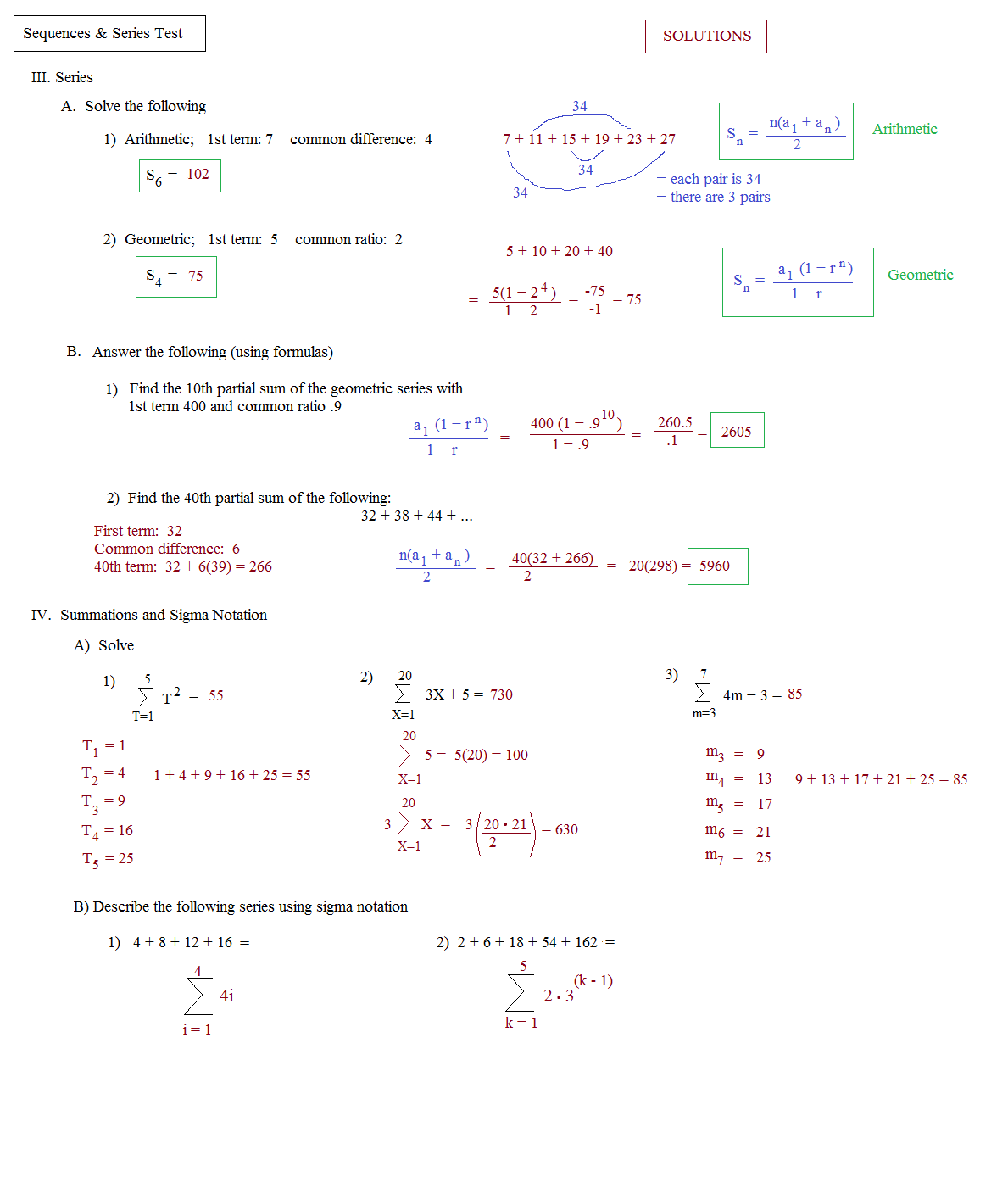Worksheets Sequences And Series Worksheets math plane sequences and series i mathplane test 2 solutions