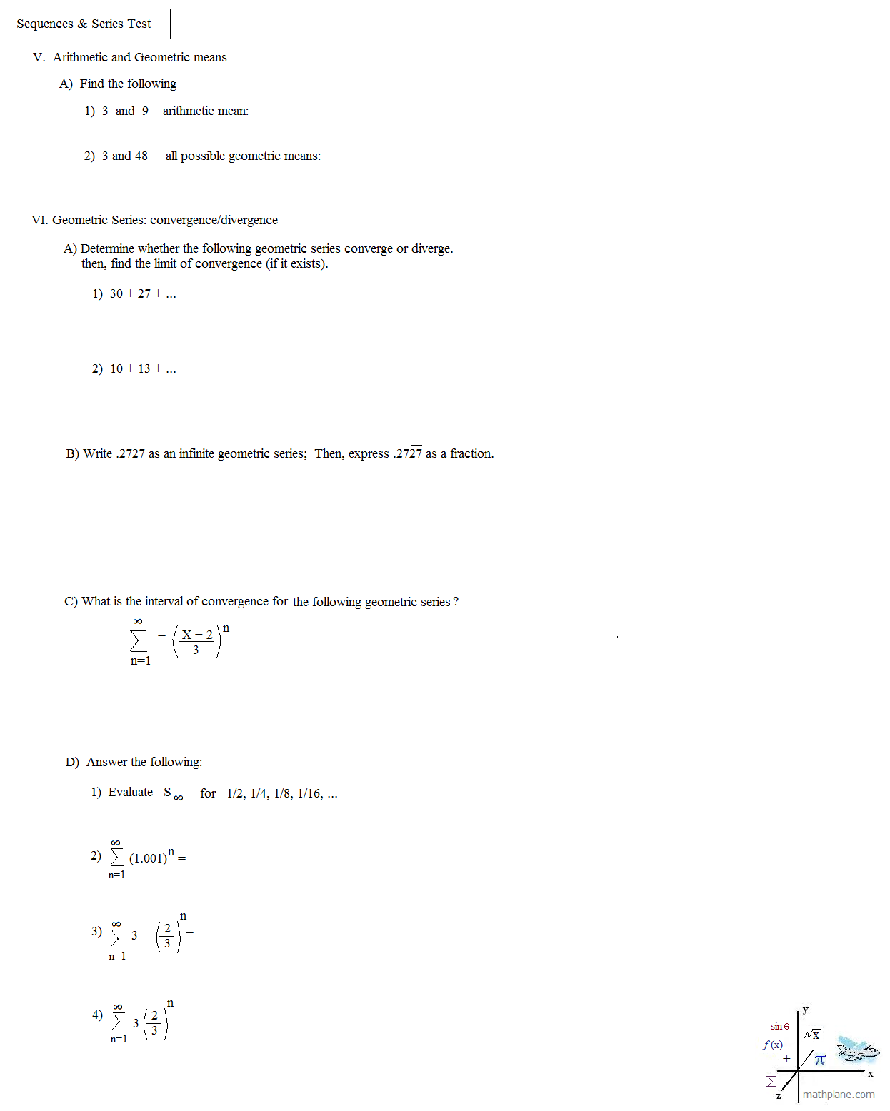 worksheet Arithmetic Series Worksheet arithmetic sequence worksheet for division graphing mathematics 12 advanced crap mathplane sequences and series test page 3 sequence