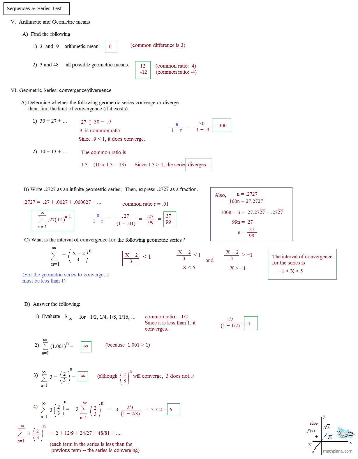 worksheet Arithmetic And Geometric Sequences Worksheet Answers math plane sequences and series i mathplane test 3 solutions
