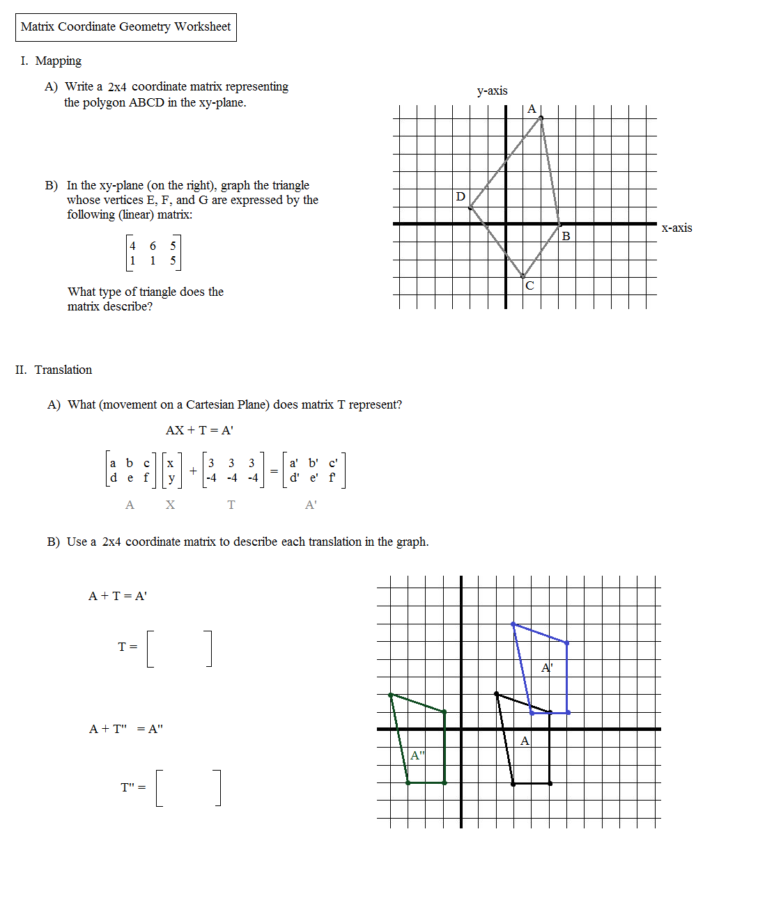 worksheet Translations Math Worksheet math plane matrix iii coordinate geometry worksheet 1