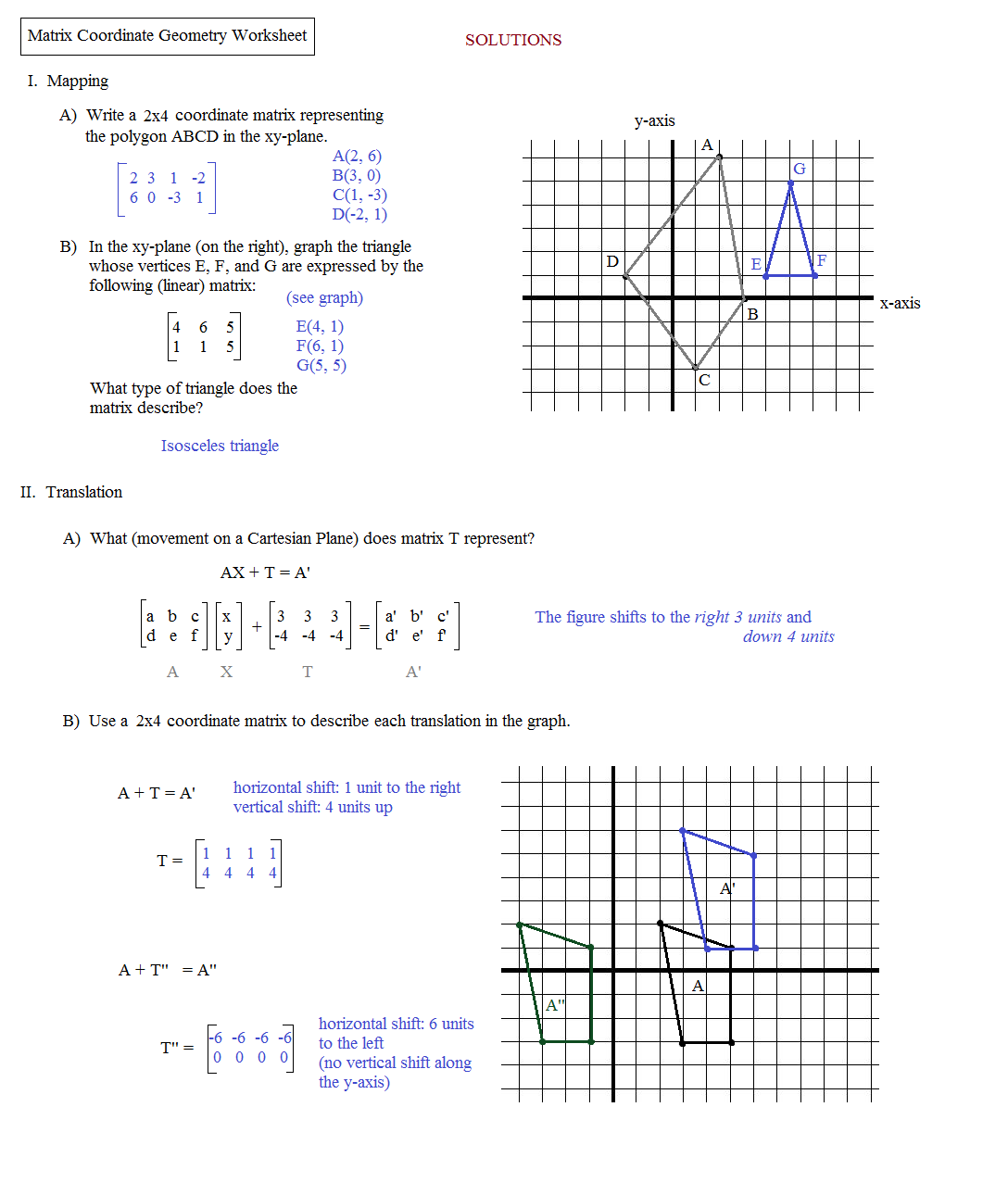 Math Plane Matrix III Coordinate Geometry – Dilation Math Worksheets