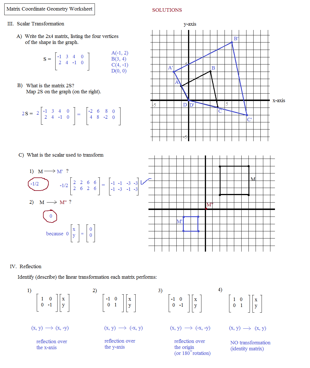 Worksheets Coordinate Plane Worksheets Middle School math plane matrix iii coordinate geometry worksheet 2 solutions