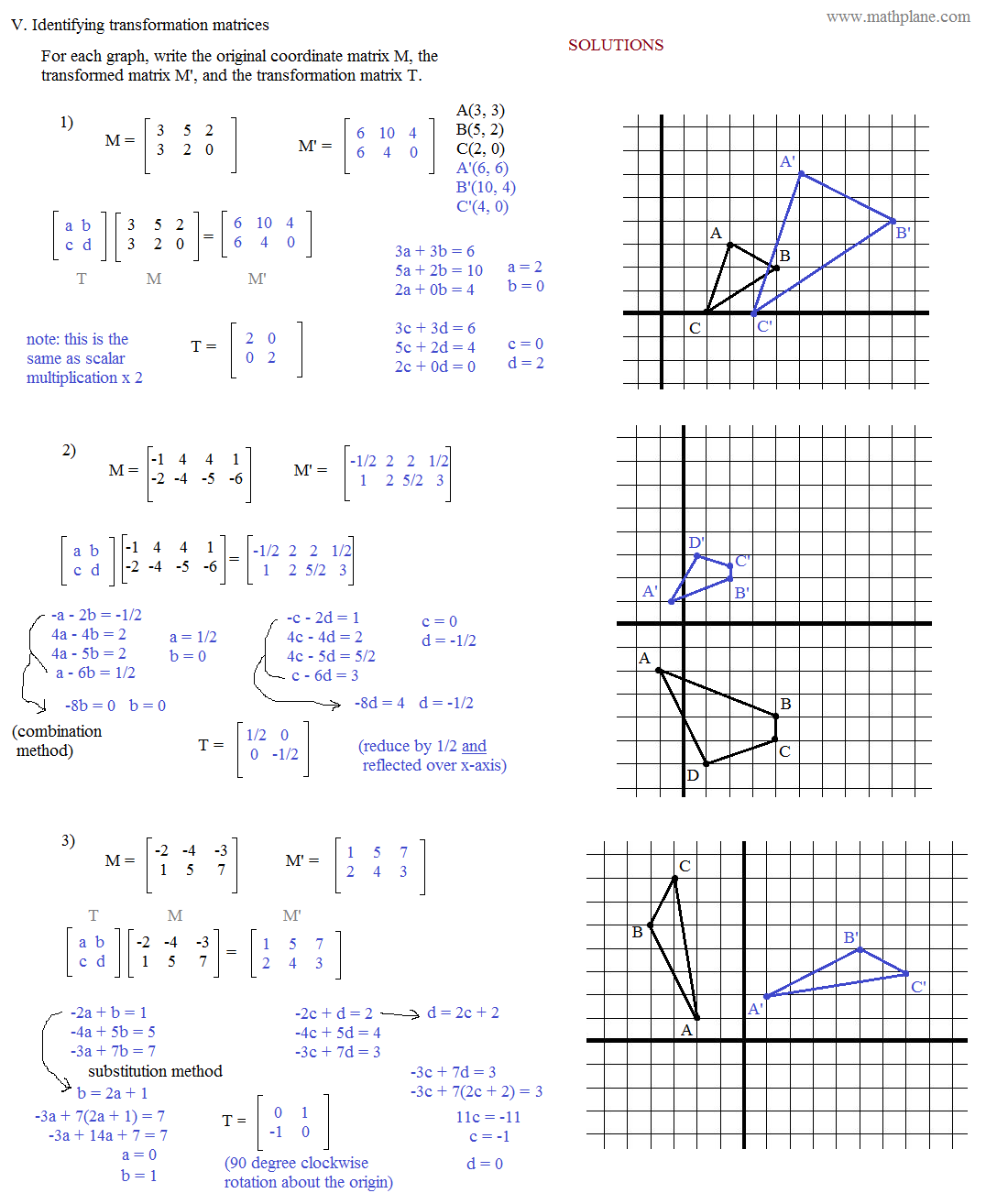 Printables Geometry Transformation Worksheets math plane matrix iii coordinate geometry worksheet 3 solutions