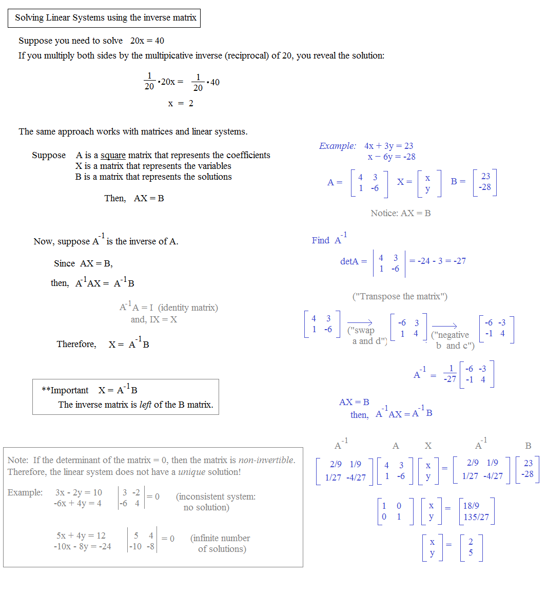 worksheet Matrix Determinant Worksheet math plane matrix ii and determinants inverses to solve linear systems