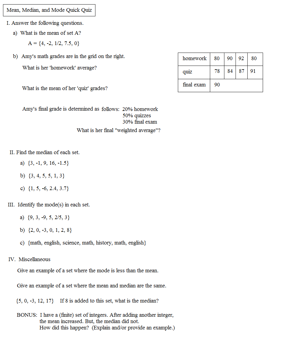 worksheet Mean Median Mode Worksheet math plane mean median and mode quick quiz