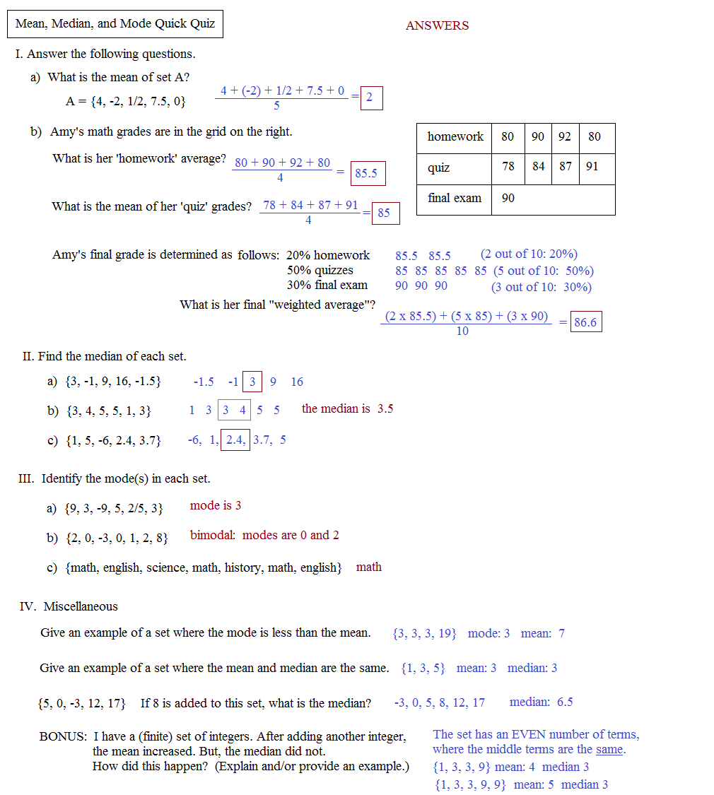 worksheet Mean Median Mode Worksheet math plane mean median and mode quick quiz answers