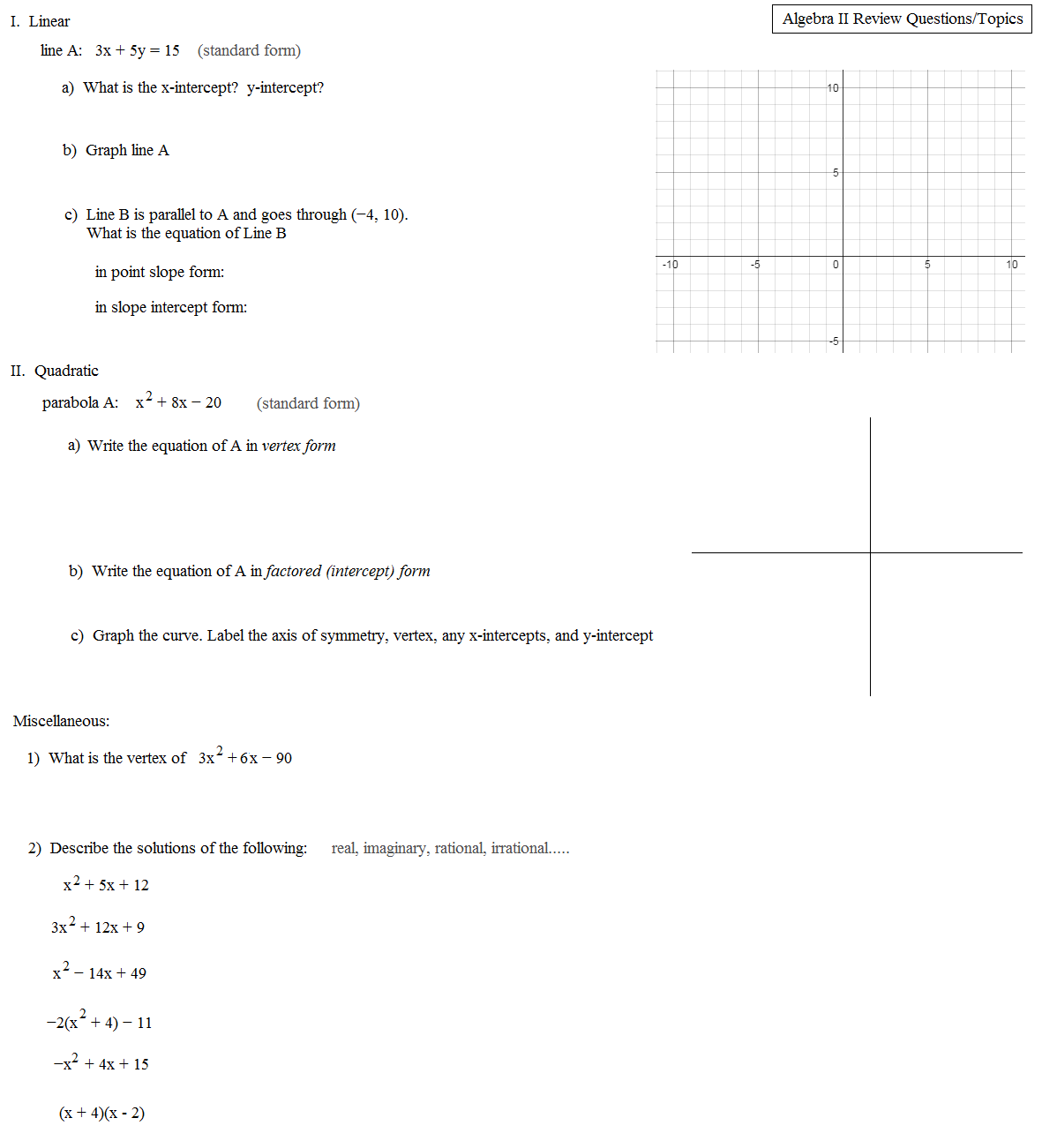 worksheet Algebra Ii Worksheets math plane algebra ii review 5 1st semester finals test summary worksheet 1 questions 2 questions