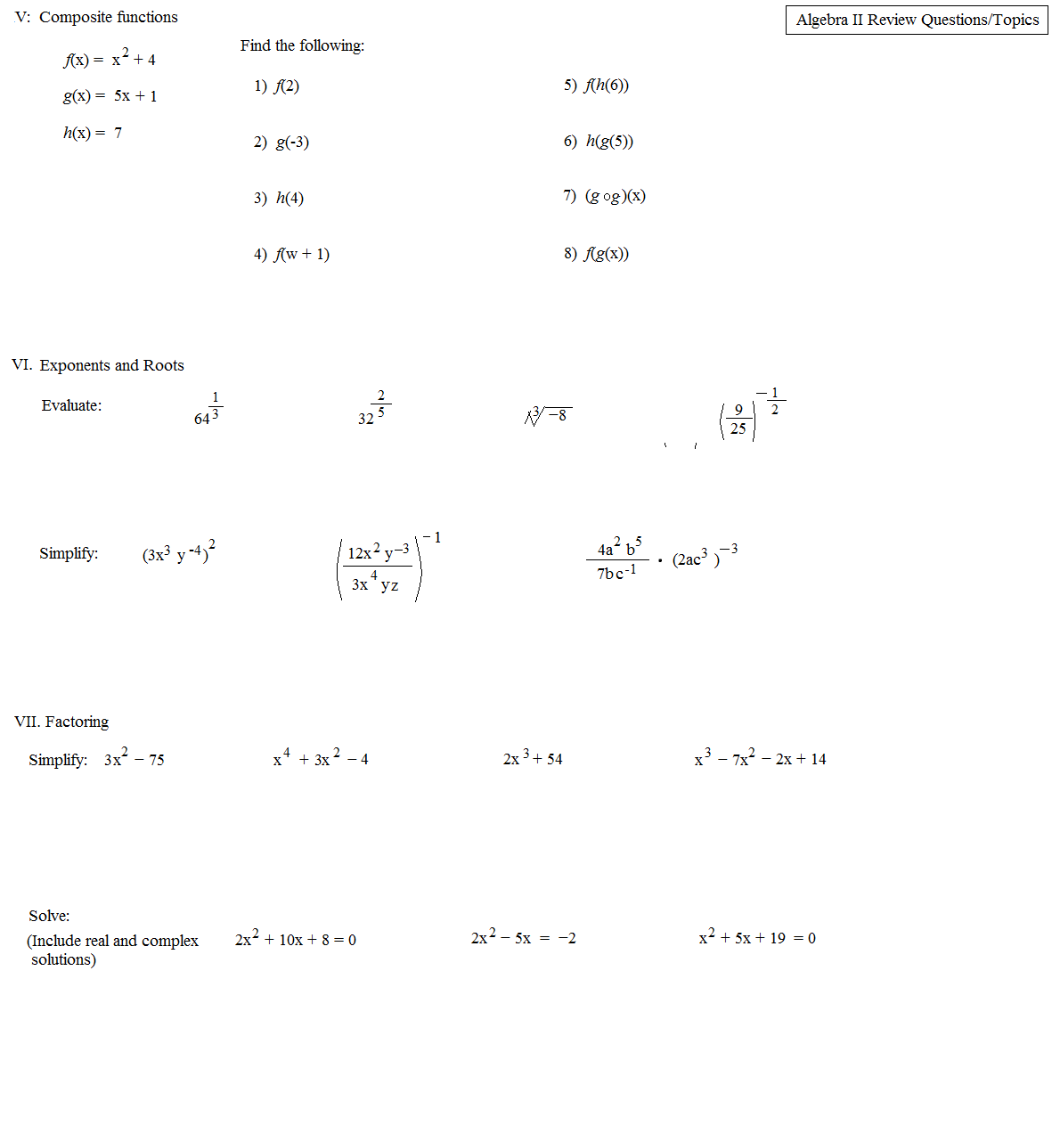 Math Plane Algebra II review 5 1st Semester Finals TEst – Algebra Ii Worksheets