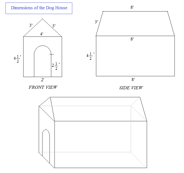Delightful Oscar Doghouse Math Problem Dimensions